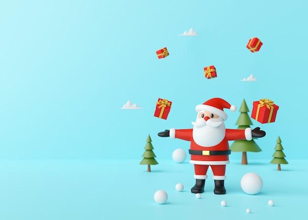 Papai noel desfrutando com presentes de natal em um fundo azul, renderização em 3d