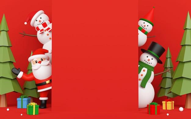 Papai noel e boneco de neve no convite de cartão com espaço de cópia no meio, renderização em 3d