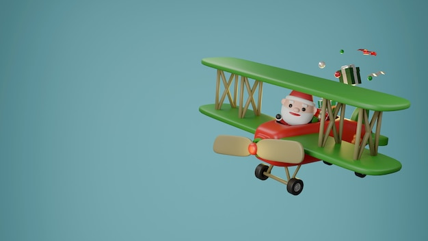Papai noel e enfeites de natal no avião. renderização 3d