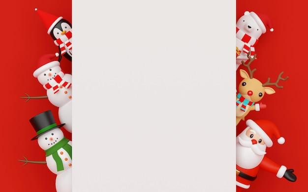 Papai noel e personagem de natal com cópia espaço renderização em 3d