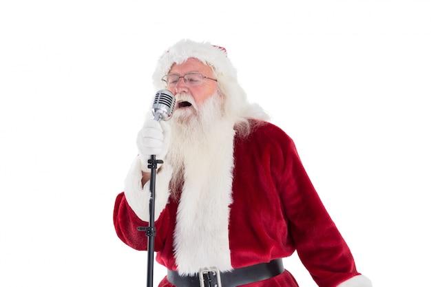 Papai noel está cantando canções de natal