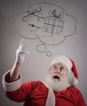 Papai noel pensando em presentes