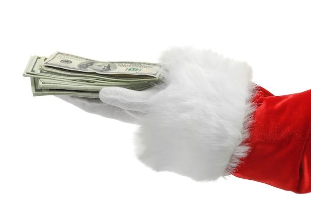 Papai noel segurando dinheiro em branco