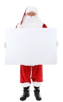 Papai noel segurando um quadro em branco