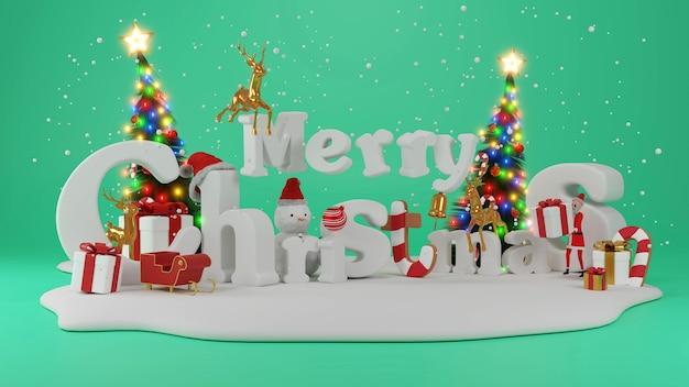 Papai noel trabalhando - preparando e embrulhando presentes de natal, brinquedos antes de enviá-los para as crianças., renderização 3d
