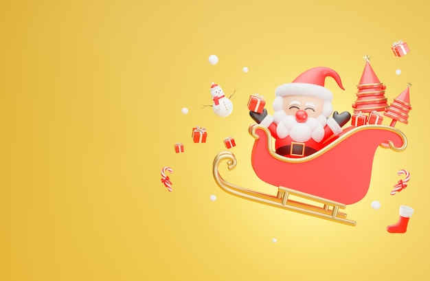 Papai noel voando no trenó no natal em renderização 3d