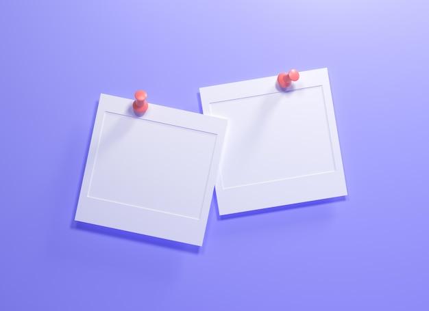 Papéis de nota 3d vazios estão pendurados na parede roxa para substituição de texto ou fotos. ilustração 3d render