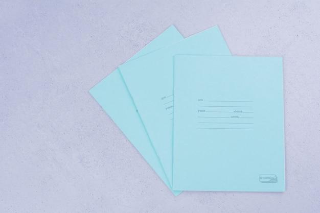 Papéis de nota em branco em cinza.