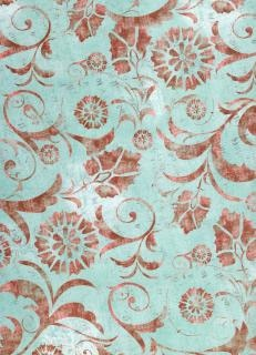 Papel azul red floral