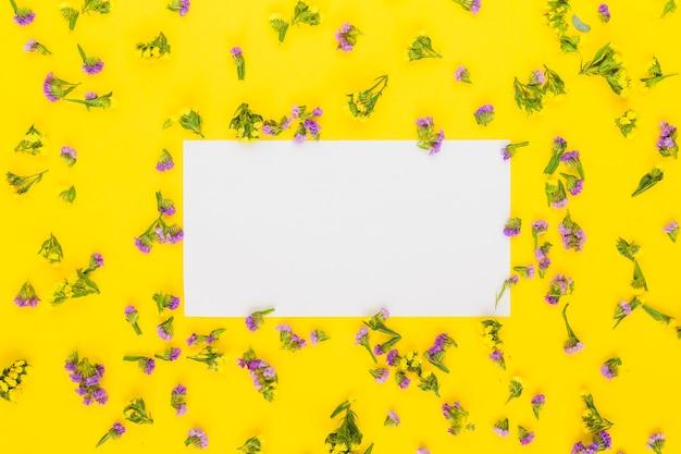 Papel branco em branco retangular em torno das flores roxas contra fundo amarelo