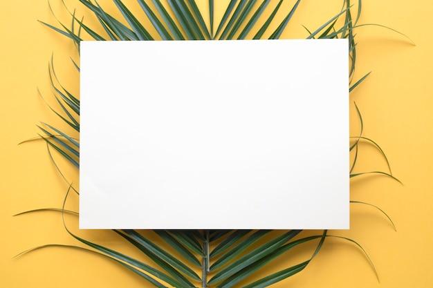 Papel cartão branco na folha de palmeira verde contra pano de fundo amarelo