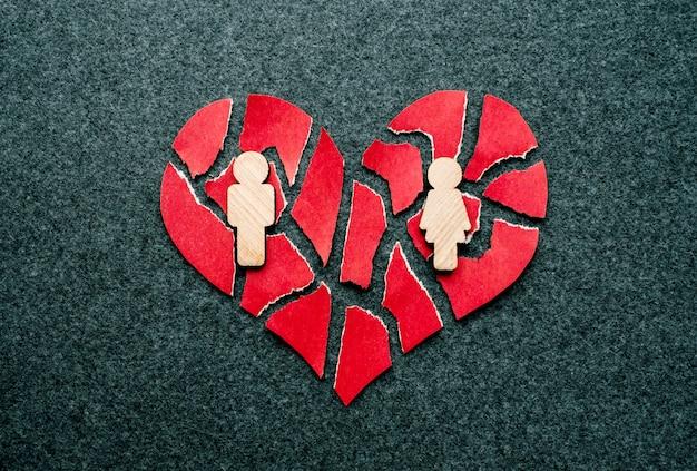 Papel coração partido vermelho com figuras de madeira de homem e mulher