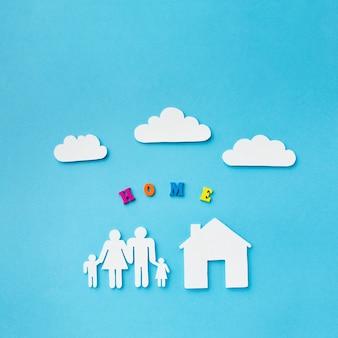 Papel cortado conceito de família com nuvens