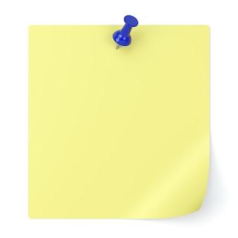 Papel de anotações em branco e tachinha isolados no fundo branco - ilustração 3d
