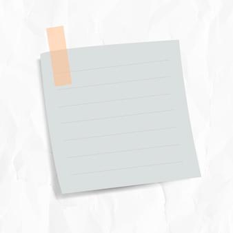 Papel de carta forrado em branco com fita adesiva em fundo de papel enrugado