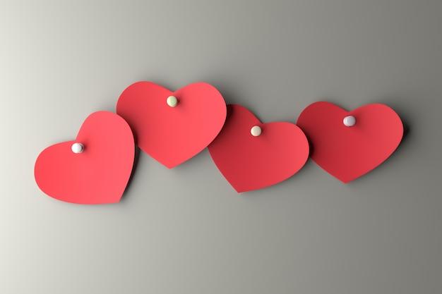 Papel de corações na parede. renderização em 3d.