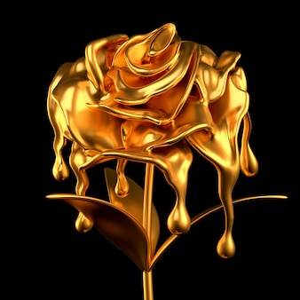 Papel de flor de ouro e grama. ilustração 3d, renderização em 3d.
