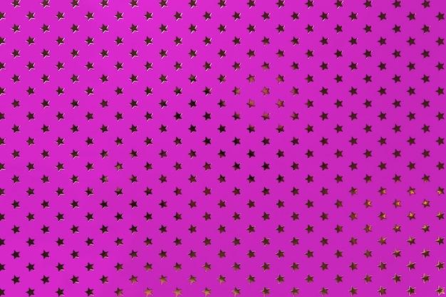 Papel de folha de metal roxo claro com um padrão de estrelas douradas.
