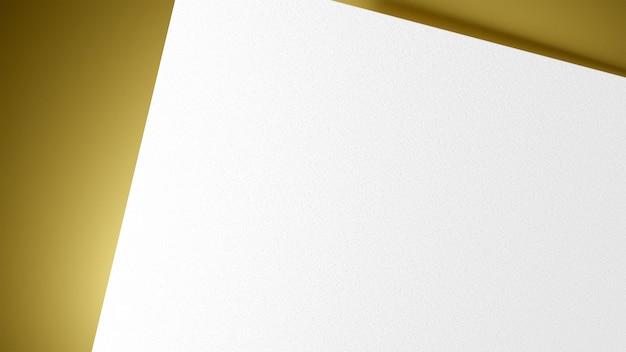 Papel de forma quadrada branca sobre fundo amarelo ouro. modelo de apresentação de marca de impressão. renderização de ilustração 3d