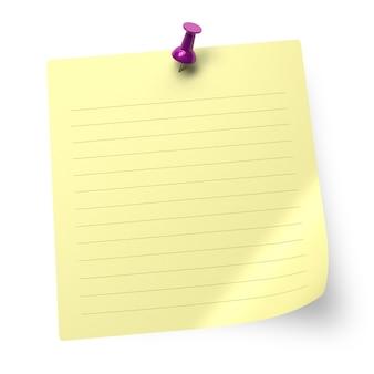 Papel de nota listrado e tachinha isolados no fundo branco - ilustração 3d