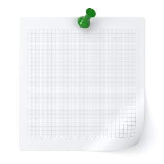 Papel de nota verificado e tachinha isolados no fundo branco - ilustração 3d