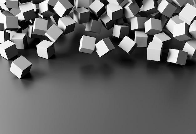 Papel de parede criativo com cubos cinza e espaço de cópia