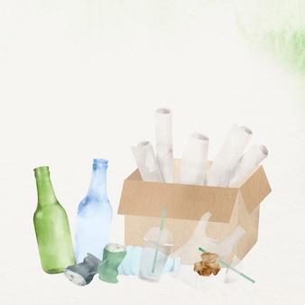 Papel de parede de ambiente de resíduos recicláveis em ilustração em aquarela