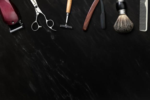 Papel de parede de barbeiro, fundo de mármore preto