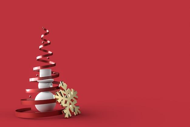 Papel de parede de cartão postal de natal 3d com boneco de neve. conceito de feliz natal.