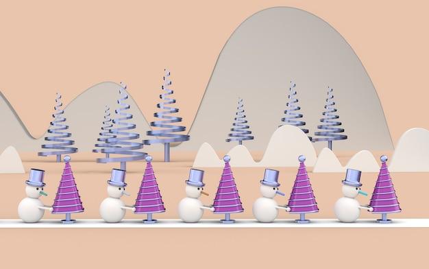 Papel de parede de cartão postal de natal 3d com bonecos de neve. conceito de feliz natal. ilustração 3d.