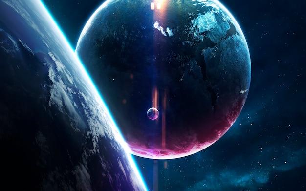 Papel de parede de ficção científica. sistema planetário a milhares de anos-luz de distância da terra. elementos desta imagem fornecidos pela nasa