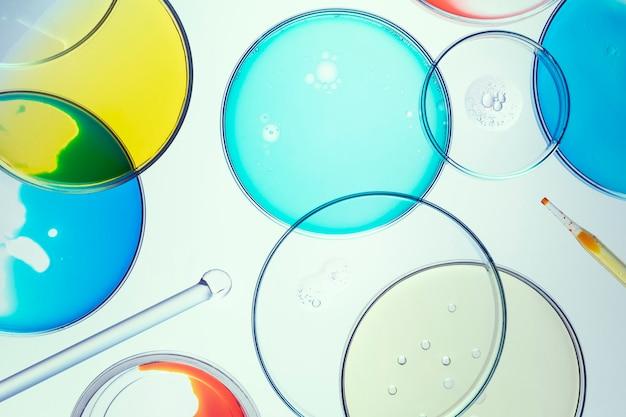 Papel de parede de fundo de ciência, placas de petri planas
