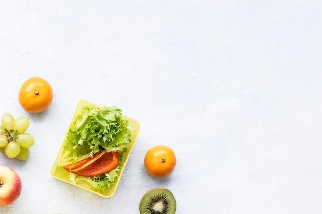 Papel de parede de fundo de comida saudável para crianças, preparação de lancheira