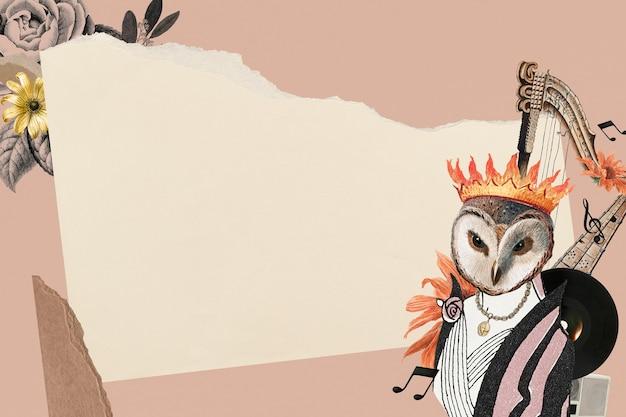 Papel de parede de fundo estético de quadro de colagem vintage, arte de mídia mista de colagem animal