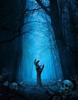 Papel de parede de halloween com mão de zumbi