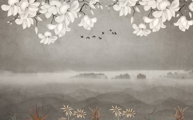 Papel de parede de mural floral com fundo claro ramos de flores, ervas e pássaros