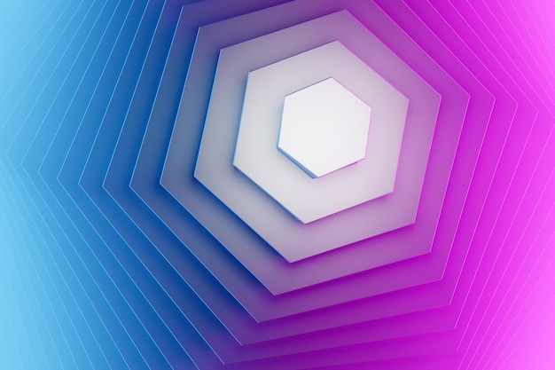 Papel de parede de padrões de hexágono geométrico futurista e criativo de ilustração 3d azul e rosa. composição de formas gradientes na moda. gradientes de meio-tom coloridos.