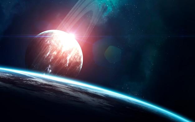 Papel de parede espaço abstrato. universo cheio de estrelas, nebulosas, galáxias e planetas.
