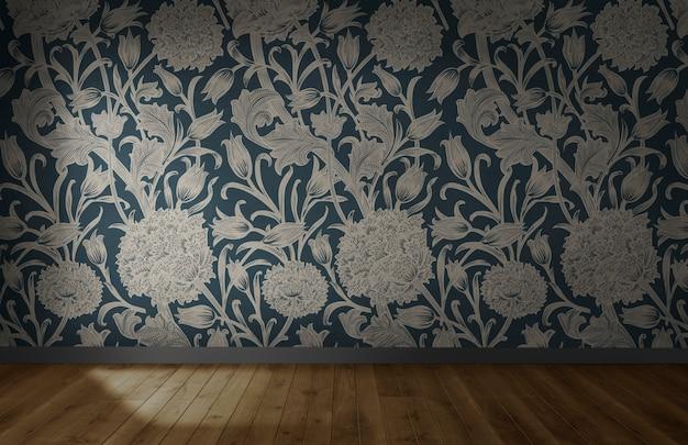 Papel de parede floral em uma sala vazia com piso de madeira