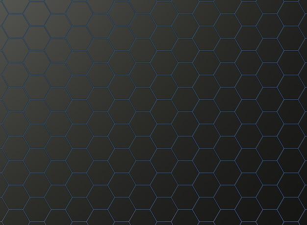Papel de parede formado por hexágonos pretos mate e luz de neon azul.