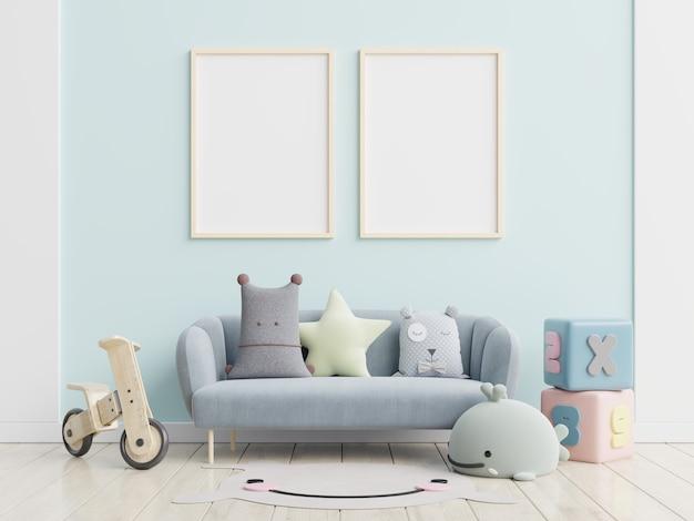 Papel de parede interior de quarto infantil / pôsteres de maquete no interior de quarto infantil, renderização em 3d