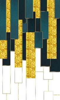 Papel de parede moderno abstrato 3d linhas douradas decorativas e mármore turquesa branco e forma