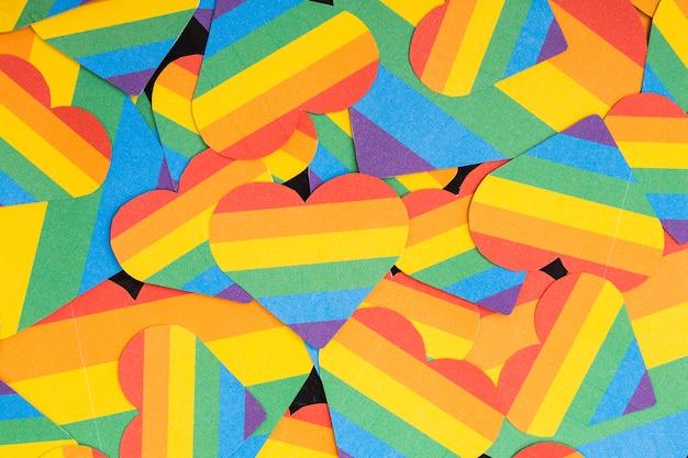 Papel de parede multicolorido lgbt corações