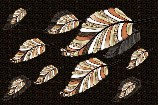 Papel de parede mural 3d ilustração de flores linhas de tecelagem texturas de fundo ilustração folha de árvore