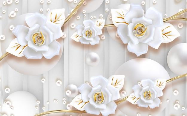 Papel de parede mural clássico 3d com flores brancas e douradas em fundo claro com pérolas