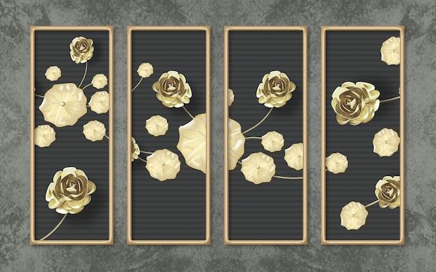 Papel de parede mural clássico 3d para decoração de parede em casa com borda dourada e flores. motivos dourados e escuros