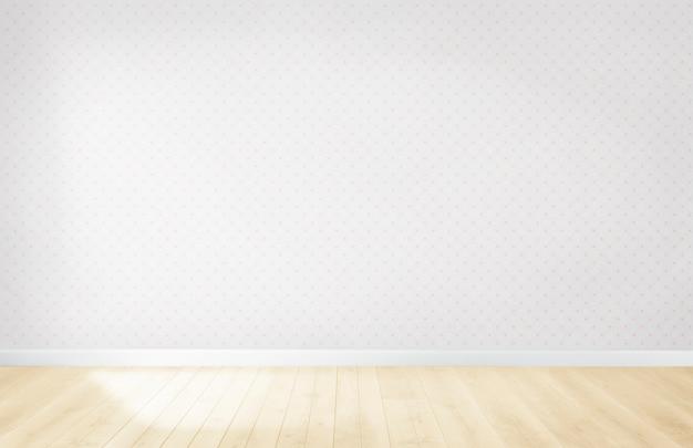 Papel de parede pastel em uma sala vazia com piso de madeira
