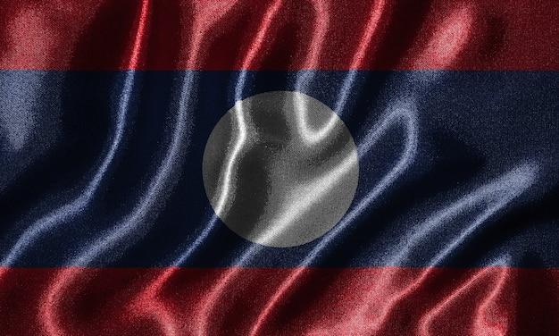 Papel de parede por bandeira de laos e bandeira de ondulação por tecido