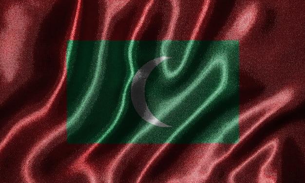 Papel de parede por bandeira de maldivas e bandeira de ondulação por tecido