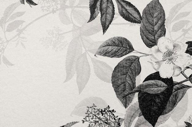Papel de parede rosa gravado com flores desenhadas à mão em bw